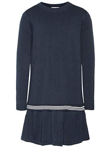 NAME IT Mädchen Kleid Langarm Feinstrick-Kleid NKFNOLINE, Größe:122-128, Farbe:Dark Sapphire