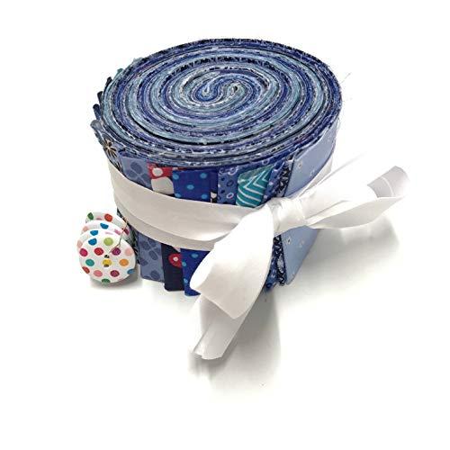 Jelly Roll Roll Sea-Breeze (blau) - die Jelly Roll beinhaltet 20 Streifen à 2,5 Inch (=6,5cm) Breite und 135 cm Länge 100% Baumwolle 1m Schrägband 4 Knöpfe