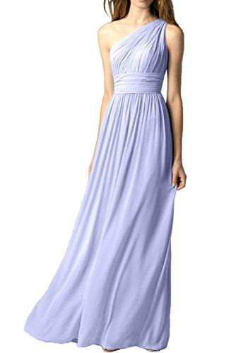 TOSKANA BRAUT Damen Ein-Schulter Chiffon Falte Abendkleider Bodenlang Ballkleid Festkleid Lavender