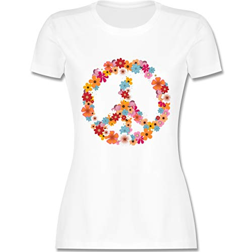 Statement Shirts - Peace Flower Power - XL - Weiß - L191 - Damen Tshirt und Frauen T-Shirt -