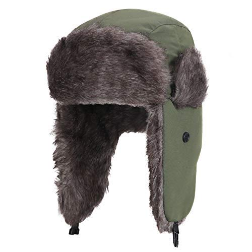 YESURPRISE Trapper Warm Russische Trooper Fell mit Ohrenklappen Winter Ski Hut Cap Damen Herren Winddicht, Herren, Grün, Large