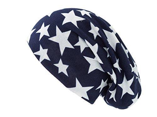 Jersey Beanie Frühlingsmütze Mütze Long Beanies Slouches Sommerbeanie Herren Damen Kinder unisex dünne Sommermütze Farben Slouch große Köpfe (Blau mit weißen Sternen)
