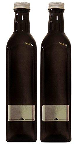 Viva Haushaltswaren #36945# 2 x Ölflasche 500 ml, Glasflasche mit Schraubverschluss Inklusive Etiketten Zum Beschriften, Braun, 5.8 x 5.8 x 26 cm (Schnaps Beispiel Flaschen)