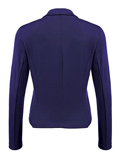 Blazer Damen, Pagacat Kurzblazer Jacke Business Elegant Slim Fit mit Vorne Offnung Tasche für Büro Freizeit Blau