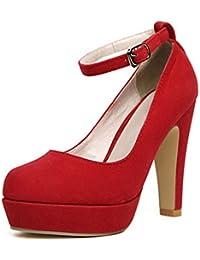 TOOGOO (R) Mujer del tacon alto de la plataforma del estilete con la correa del tobillo de la hebilla zapatos de tacon alto de imitacion gamuza Rojo - 37