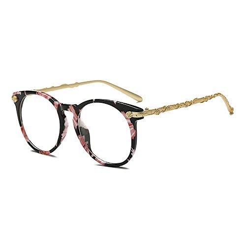 Yiph-Sunglass Sonnenbrillen Mode Damen Sonnenbrille Charm Retro Flower Frame für Frauen Runde Damen Bunte UV-Schutz eingefasst Klassische Sonnenbrille für das Fahren von Reisen (Farbe : Schwarz)