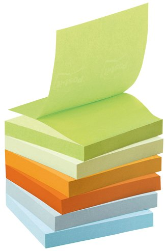 Post-it R3301GB Haftnotiz Recycling Z-Notes Mini Tower Pastel Rainbow (76 x 76 mm) 100 Blatt à 6 Block farbig sortiert
