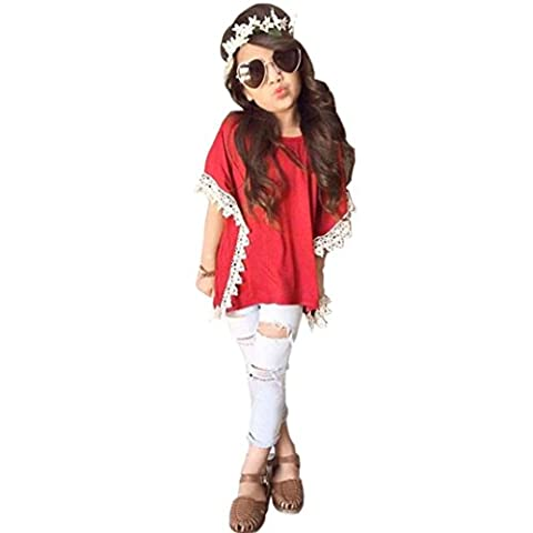 Kids Baby Girls Outfits T-shirt Tops+ Denim Jeans Pants Clothes for 2-7 years by Kolylong (4-5Y, Red)