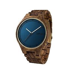 Zeitholz Herren-Holzuhr analog mit Rosenholz-Armband Modell Stolpen blau