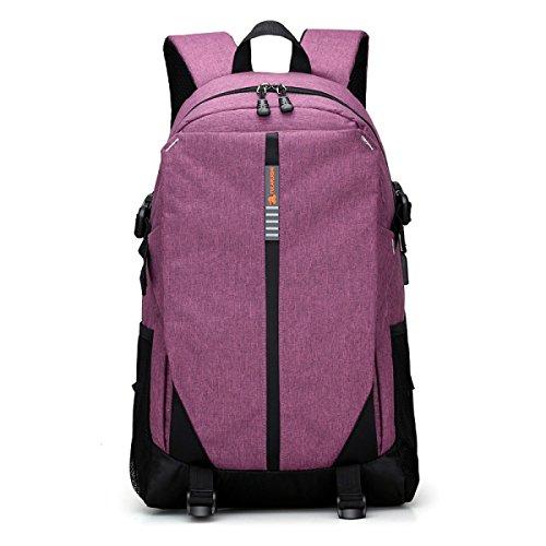 Schultertasche Männer Und Frauen Mit Hoher Kapazität Tasche Schule Wind Freizeit Reisen Rucksack Computer Tasche Purple