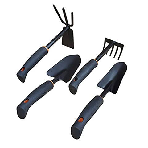 4PCS Garden Tools Set Rake/Dual-use Hoe/Wide Shovel/Narrow Shovel for the New or Men, Women, Older, Children, Seniors, Adults