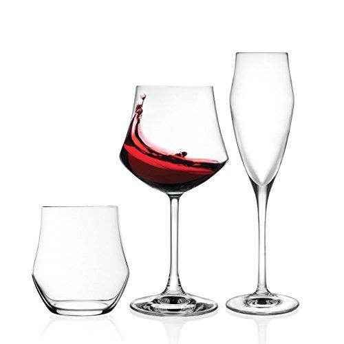 Rcr ego set vetro, 12 bicchieri, 12 calice vino 12 calice spumante, 36 pezzi made in italy