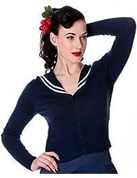 Hell Bunny Rockabilly 50's Landlubber Sailor Cardigan Navy Blue
