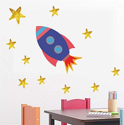 Zyzdsd Rocket Ovni Calcomanías Caseras Pegatinas De Pared Sistema Galáctico Estrellas De Vinilo Mural Art Decal Para Sala De Niños Nursery Cartoon Diy Decoración