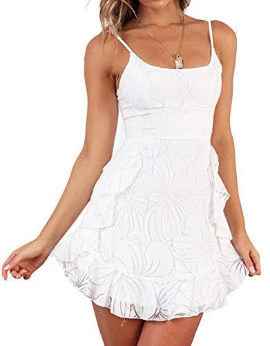 HOYMN Damen Sommerkleider Blumendruck Kleid Träger Ärmellos Rückenfreies Rüschen Bodycon Kleider Spaghetti Strap Mini Swing Strandkleider Weiß