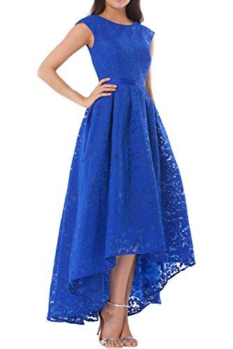 Charmant Damen Glamout Spitze Hi-lo Festlichkleider Abendkleider Ballkleider Promkleider Damen ABschlussballkleider lang Royal Blau
