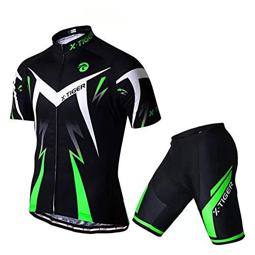 kot Set Kurzarm mit Sitzpolster für MTB Rennrad Fahrrad Jersey + Rad Shorts Radsportanzug M - XXL (Grün, L) ()