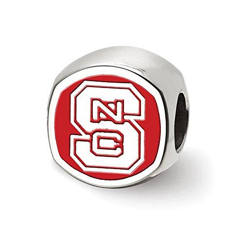 Carolina Kissen (Lex & LU logoart Sterling Silber North Carolina State University Kissen Form Logo Bead)
