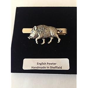 A71Wildschwein 4English Pewter Emblem auf einem Krawattenklammer (Slide) handgefertigt in Sheffield kommt mit prideindetails Geschenkbox