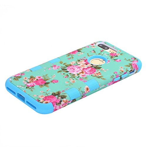 """iPhone 7 Plus Hülle,Lantier 3 in 1 Combo Elegant Schöne Blumen Design Stoßdämpfung Hard Cover mit Silikon Inneren Shell Hülle für iPhone 7 Plus 5.5"""" 2016 Grün Blue"""