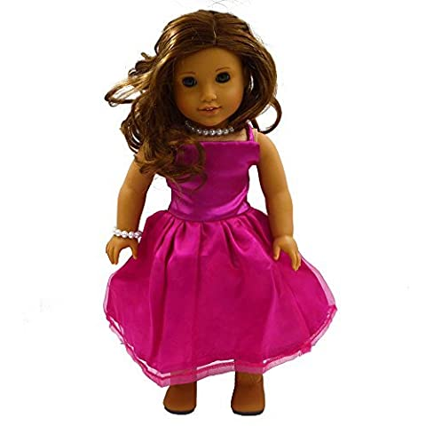 Youtop Fashion Rosy Silky Satin and Organza Formal Dress Evening Gown Fits 18 American Girl Dolls by Youtop