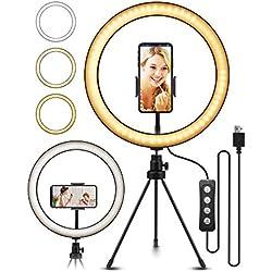 ELEGIANT LED Lumière Anneau avec Trépied, Perche Selfie LED Ring Light pour Vidéo/Photo/Youtube/Maquillage Lampe Annulaire Réglable avec 3 Modes d'Eclairage 11 Niveaux de Luminosité