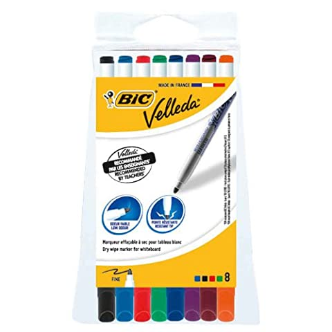 BIC Velleda Whiteboard Markers - Assorted Colours, Wallet of 8