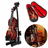 #9: 1/12 Violin Wooden Musical Instrument With Case&Holder Doll House Decor Accessories Gift