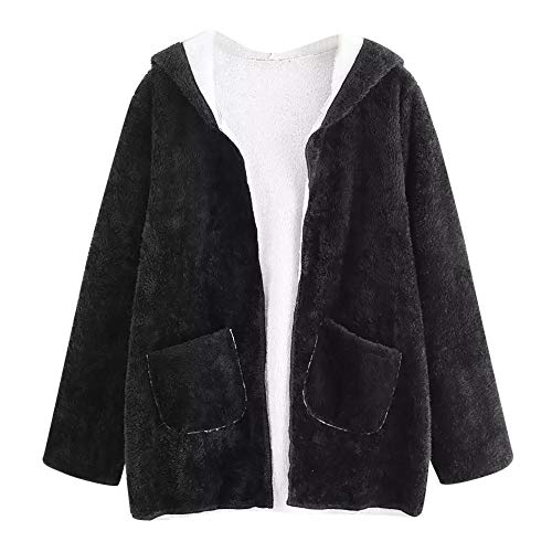SuperSU Damen Kunstpelz Mantel Mode Frauen beiläufige Tropfen Schulter Doppeltaschen mit Kapuze...