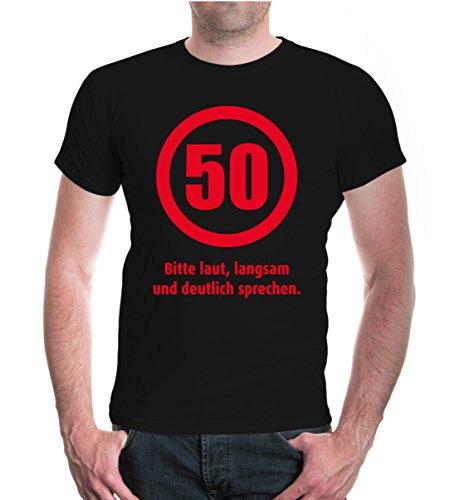 buXsbaum® T-Shirt 50 Bitte laut, langsam und deutlich sprechen Black-Red