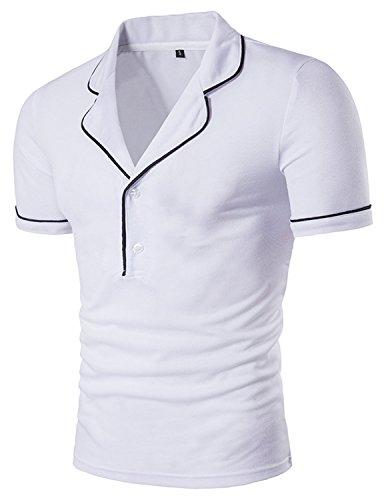 YCHENG Herren Kurzarm Polo Shirt Hemd Slim Fit Einfarbig Schwarz-Weiss Weiß