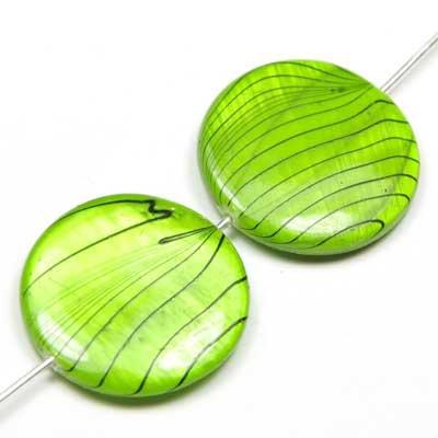 Perles Palets nacre 20mm vert tigré