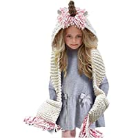 Azornic Kids Winter Unicorn Hats Knitted Earflap Pocket Hooded Scarves Ear Cap Beanie Cosplay Photography (Pink)(Size: M)