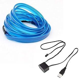 vcbbvghjghkhj-UK LED EL Light Neon Rope Auto Party Dance Glühender Lichtstreifen + 3V / 12V USB Drive-Blau