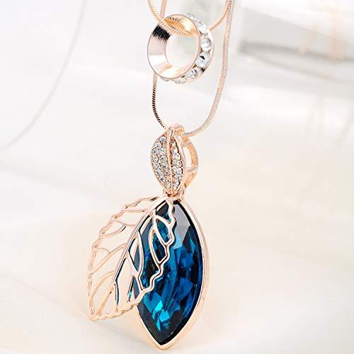 Wwf personalità doppia openwork creativo lascia collana lunga catena maglione anello di trasferimento femminile di cristallo,oro rosa,77 + 62 centime