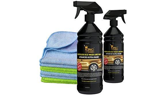 King of Glanz, Advanced Ultra Nano, Eco wasserlos Autowasche und Autowachs mit Carnauba Sprühwachs 2litre (2 x 1 l Flaschen) + 4 Profi Mikrofasertücher