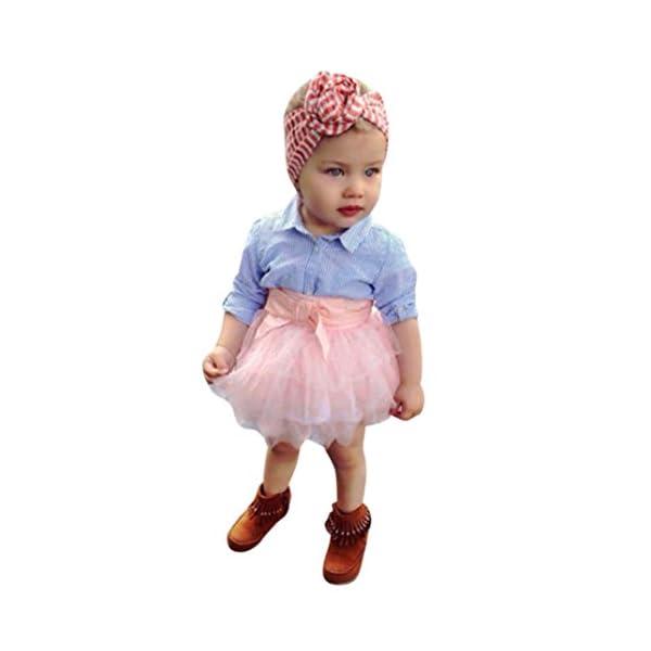 Ropa de Bebé,RETUROM 2018 2pcs bebé niñas arco rayas Tops + tutú falda conjuntos 1