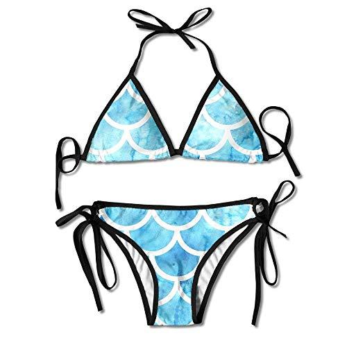 Bikini Swimwear Sky Blue Scales Printing Sexy Two-Piece Bikini Set Beach Bathing Suit - Blue Sky Swimwear Wrap