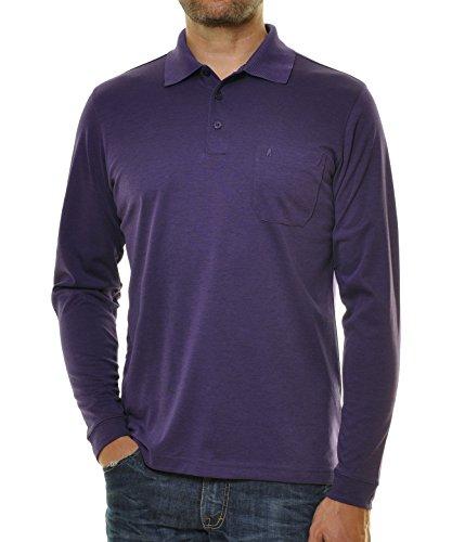 RAGMAN Herren RAGMAN langarm Poloshirt Softknit Violett