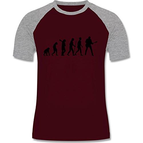 Shirtracer Evolution - Gitarrist Evolution - Herren Baseball Shirt Burgundrot/Grau meliert