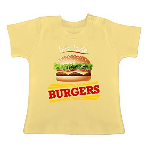 Karneval und Fasching Baby - Burger Kostüm - 3-6 Monate - Hellgelb - BZ02 - Baby T-Shirt Kurzarm (Baby Hamburger Kostüm)