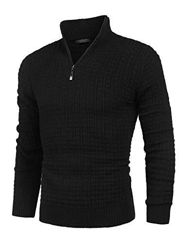 Coofandy Herren Strickpullover Langarm Basics aus Baumwollmischung Feinstrick Pullover Zip Neck Sweat Sweatshirt