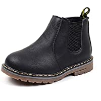 Boy's Girl's Ankle Boots, Waterproof Hiking Combat Shoes, Black,4 M US Big Kid