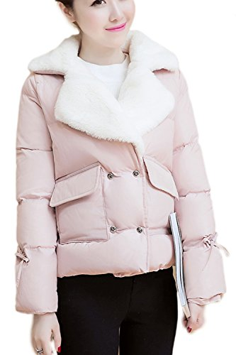 Damen Casual Wolle Oberbekleidung Pelzmantel Pink 3XL