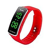 BesWLZ Kinder und Jugendliche Uhr Digital Quarz Wasserdichte mit Plastik Armband Rot