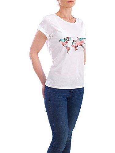"""Design T-Shirt Frauen Earth Positive """"world map 78 red blue"""" - stylisches Shirt Kartografie Reise Reise / Länder von Justyna Jaszke Weiß"""