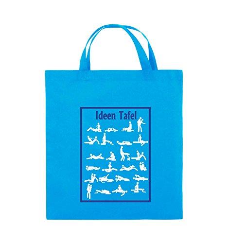 Comedy Bags - Ideen Tafel - SEXSTELLUNG - Jutebeutel - kurze Henkel - 38x42cm - Farbe: Schwarz / Weiss-Neongrün Hellblau / Weiss-Royalblau