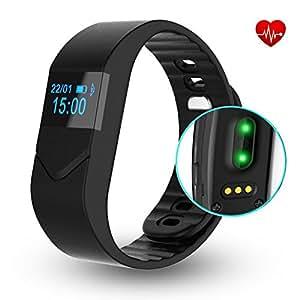 Braccialetto Fitness,CAMTOA E5S OLED Bluetooth 4.0 Fitness Tracker/Activity Tracker/IP54 Smart Bracelet - Misurazione Frequenza Cardiaca/Contapassi/Calorie/Monitoraggio del Sonno/Notifiche Chiamate/SMS/Whatsapp/Facebook per Android e IOS