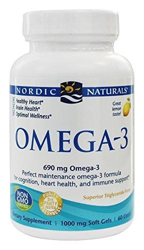 Omega-3, aceite de pescado purificado, limón, 1000 mg, 60 cápsulas...