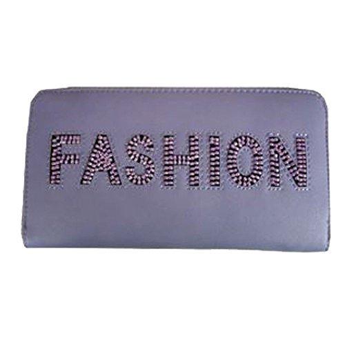 Haute für Diva S NEU Kunstleder Mode perlen-detail Damen Rund um PLZ Geldbörse - Lila, Large (Mode Diva)